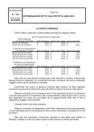 Determinazione tariffe rette Casa protetta anno 2010 - Comune di ...