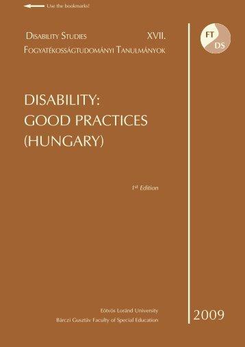 DISABILITY: GOOD PRACTICES (HUNGARY) - MEK