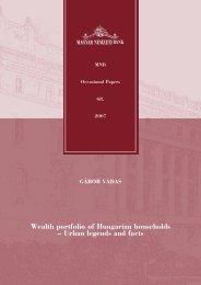 Wealth portfolio of Hungarian households - Urban legends ... - MEK