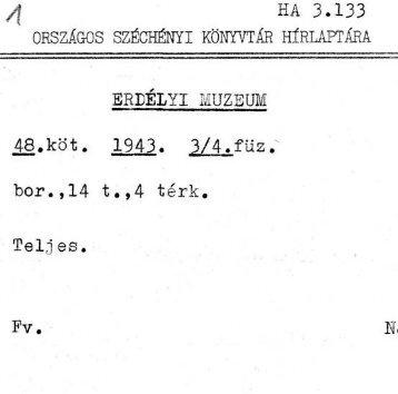 1943. 48. kötet, 3/4. füzet - Országos Széchényi Könyvtár