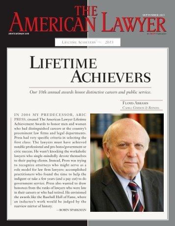 American Lawyer Lifetime Achievement Award - Cahill Gordon ...