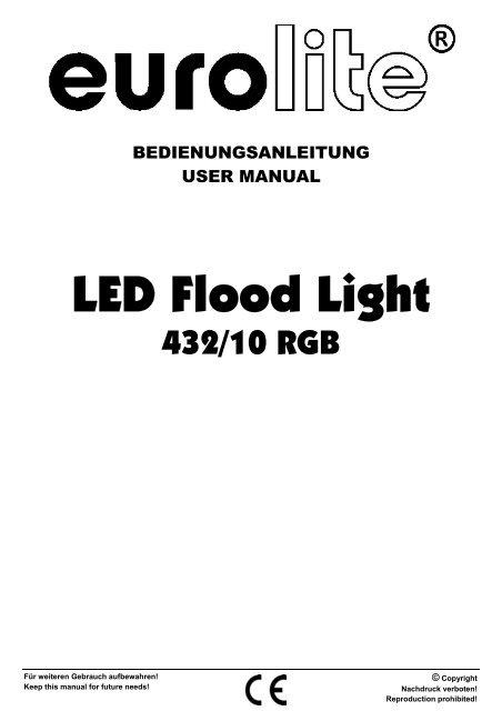 Eurolite led par-64 rgb spot short user manual.