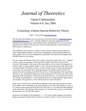 Cosmology without Special Relativity Theory - Journal of Theoretics