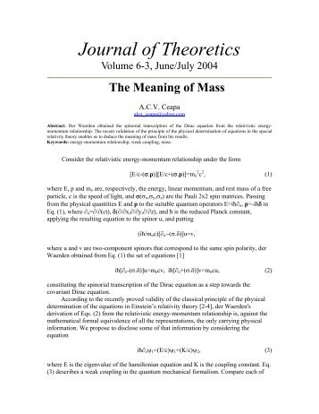 The Meaning of Mass - Journal of Theoretics
