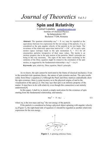 SPIN AND RELATIVITY - Journal of Theoretics