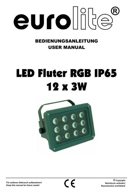Eurolite fs-600 gkv profile spot user manual.
