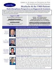 Headache & the TMD Patient: - American Academy of Craniofacial ...