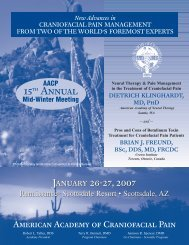 15th Annual - American Academy of Craniofacial Pain