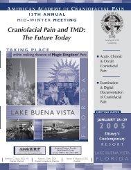 Craniofacial Pain and TMD: The Future Today LAKE BUENA VISTA