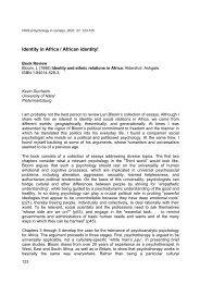 African identity - Psychology in Society