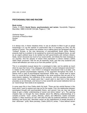 psychodynamic theory and racism Psychodynamic theory was developed by freud, and it explains personality in terms of conscious and unconscious forces this social work theory describes the personality as consisting of the id (responsible for following basic instincts), the superego (attempts to follow rules and behave morally), and the ego (mediates between the id and the ego).