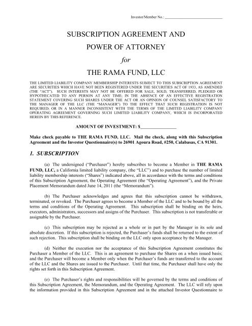 Subscription Agreement And Power Of Attorney For