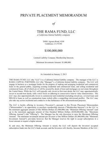 Private Placement Memorandum   Megadox.com