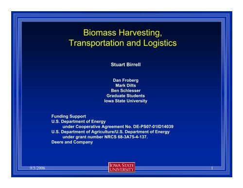 Biomass Harvesting, Transportation and Logistics - Bioeconomy ...