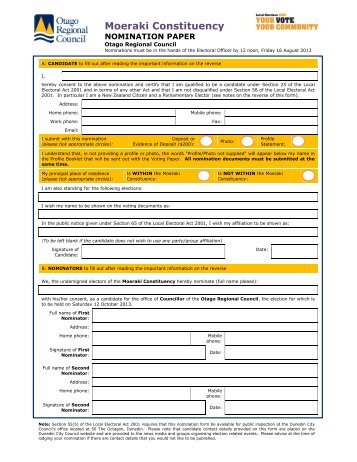 Candidate Nomination Form — Moeraki (PDF, 87 KB)