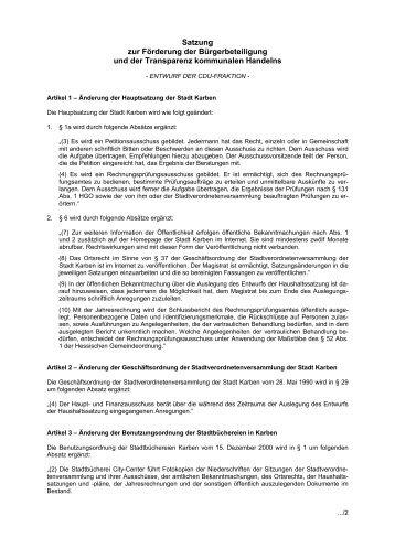 Satzung zur Förderung der Bürgerbeteiligung und ... - Im-klartext.de