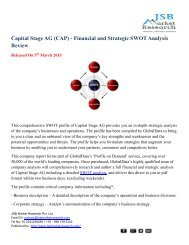 JSB Market Research: Capital Stage AG (CAP) - Financial and Strategic SWOT Analysis Review
