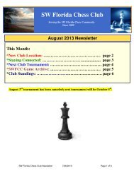 August 2013 Newsletter - SW Florida Chess Club