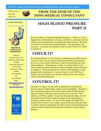 High Blood Pressure Part II - South Carolina Department of ...