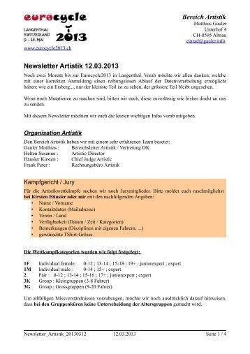 Newsletter Artistik 12.03.2013 Bereich Artistik - Eurocycle 2013