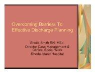 Overcoming Barriers to Effective Discharge Planning - Rhode Island ...