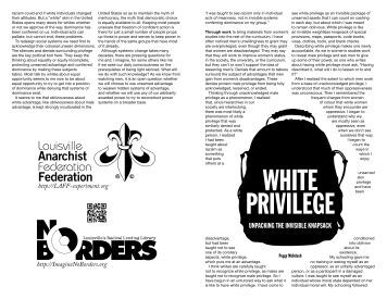 the invisible white privilege essay She has authored the essay white privilege: unpacking the invisible knapsack, written in 1987, due to which the concept of white privilege was acknowledged and.