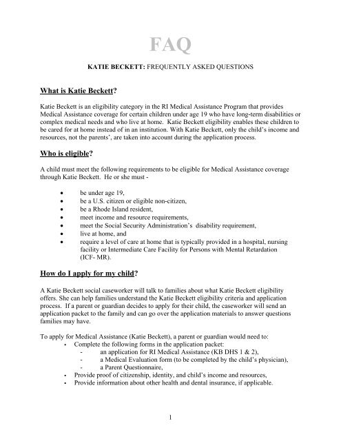 KATIE BECKETT INFORMATION - RI Department of Human Services