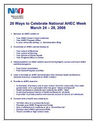 20 Ways to Celebrate National AHEC Week March 24 – 28, 2008