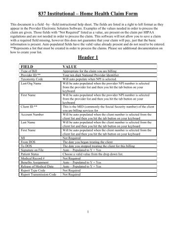 Waiver Services - Waiver/Rehab Claim Form
