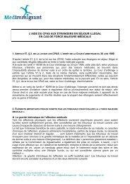Aide du CPAS aux étrangers sans séjour légal - Medimmigrant
