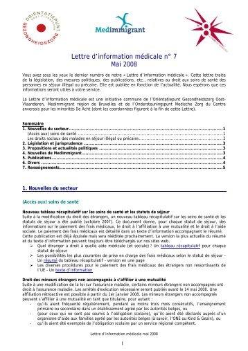 Lettre d'information médicale n° 7 Mai 2008 - Medimmigrant