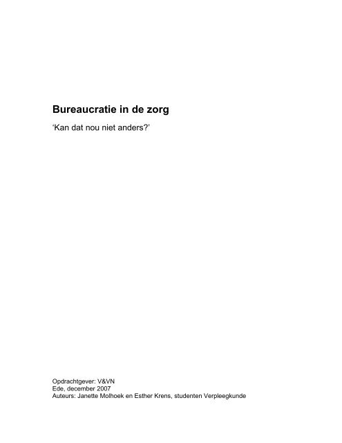 Bureaucratie in de zorg - Verpleegkundigen & Verzorgenden ...