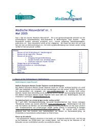 Medische Nieuwsbrief nr. 1 Mei 2005 - Medimmigrant