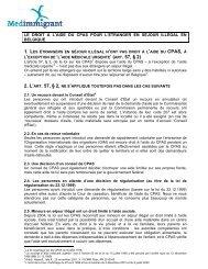 le droit à l'aide du cpas pour l'étranger en séjour ... - Medimmigrant