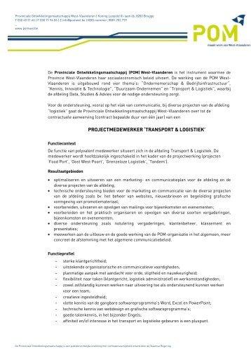 projectmedewerker 'transport & logistiek' - POM West-Vlaanderen