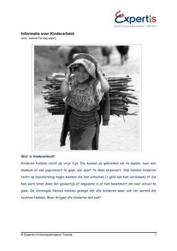Informatie over Kinderarbeid. - Tof onderwijs