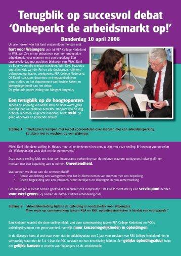 Terugblik op succesvol debat 'Onbeperkt de arbeidsmarkt op!'