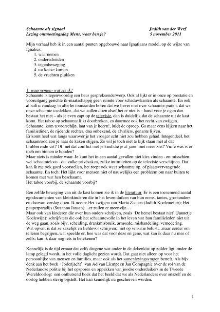 1 Schaamte als signaal Judith van der Werf Lezing ... - IKON