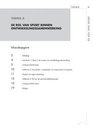 Thema A: De rol van sport binnen ontwikkelingssamenwerking