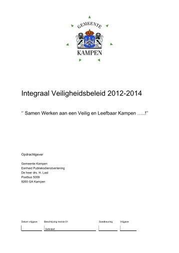 Integraal Veiligheidsbeleid 2012-2014 - CDA