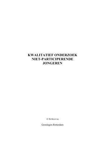 KWALITATIEF ONDERZOEK NIET-PARTICIPERENDE JONGEREN