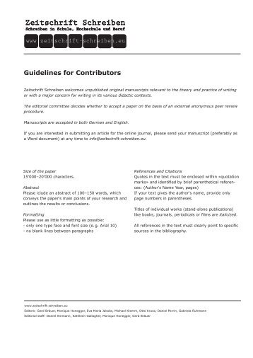 Guidelines for Contributors - Zeitschrift Schreiben