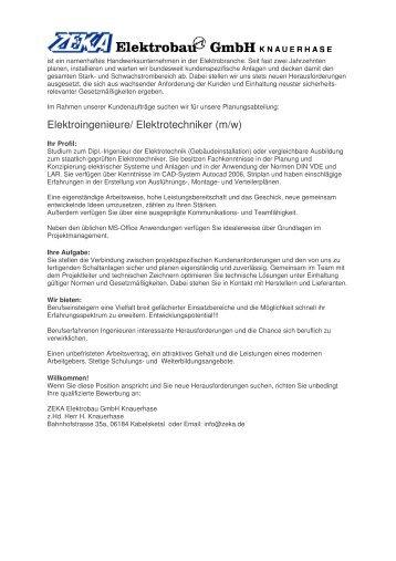 Elektroingenieure/ Elektrotechniker (m/w) - ZEKA Elektrobau GmbH