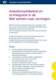 Arbeidsmarktbeleid en re-integratie in de Wet ... - Stichting CliP