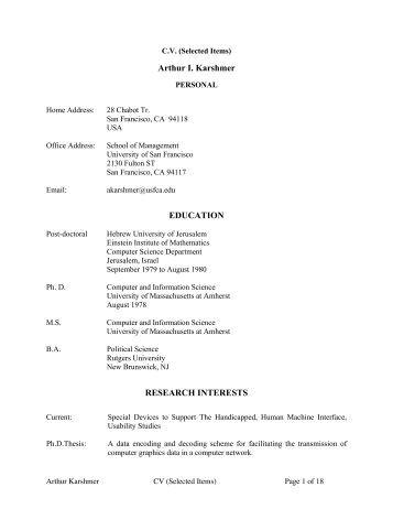 Arthur I. Karshmer EDUCATION RESEARCH INTERESTS - Visio
