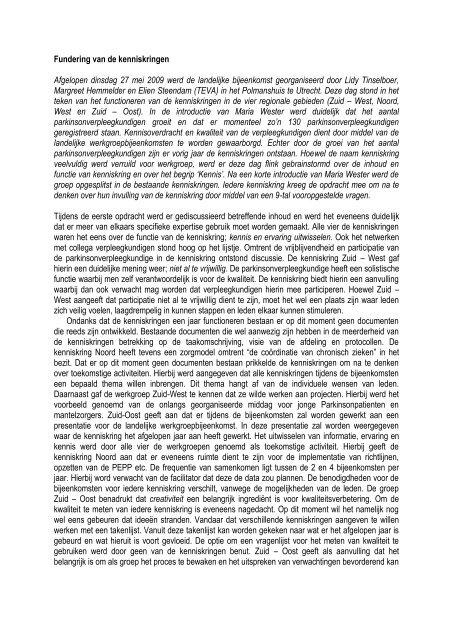 Fundering van de kenniskringen Afgelopen dinsdag 27 mei 2009 ...
