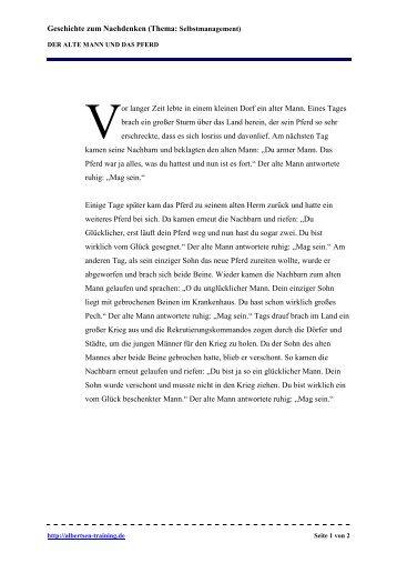 Geschichte Der alte Mann und das Pferd - snappler karriereblog.