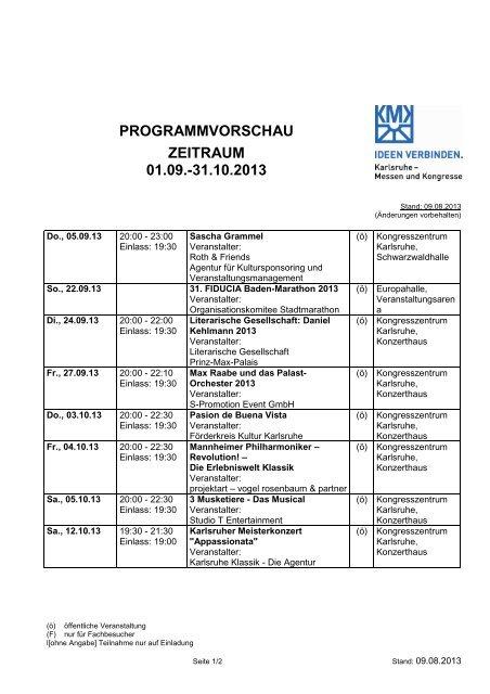 Terminkalender Kulturveranstaltungen ... - Messe Karlsruhe