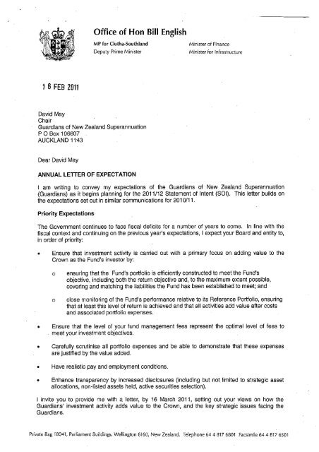 Letter of Expectation 2011/12 from the Minister of Finance   Crown