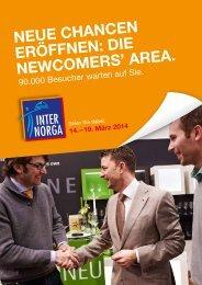 Neue ChaNCeN eröffNeN: Die NewCoMers' area. - Internorga